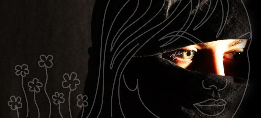 Verschleiert - Foto mit Vektorgrafik - Illustrationen Doris Maria Weigl / Mixed Media