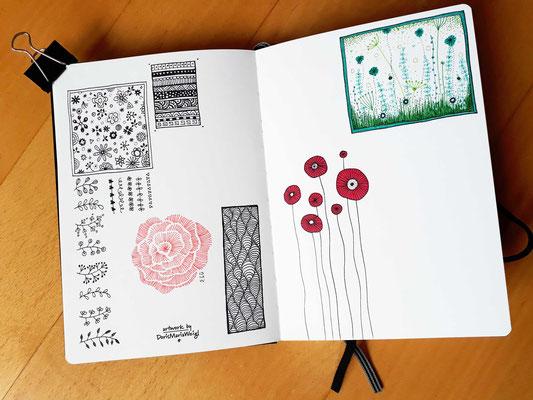 "Sketchbook - Illustration - Doris Maria Weigl - ""Blümchen & Co"""