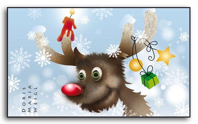 Weihnachtselch - Vektorgrafik - Illustrationen Doris Maria Weigl / Festtage