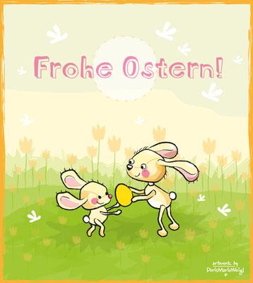 Frohe Ostern! - Vektorgrafik - Illustrationen Doris Maria Weigl / Kinderbuch