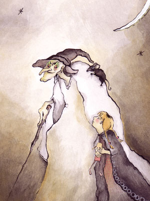 Hexe mit Mädchen - Aquarell - Illustrationen Doris Maria Weigl / Kinderbuch