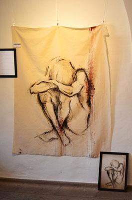 """""""Fallen Angel"""" - Acryl und Blut auf unbehandeltem Leinen - 120x150cm - Doris Maria Weigl / Art - """"Einst war sie das Licht..."""""""