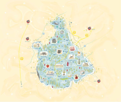 Landkarte - Vektorgrafik - Illustrationen Doris Maria Weigl / Landschaft