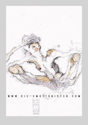 """""""daneben"""" - Serie Mute - Graphit, Gold und Aquarell auf Zeichenpapier, 20x30cm - Doris Maria Weigl"""