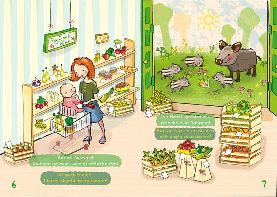 Kinderbuch: Der kleine vegane Knirps - Vektorgrafik - Illustrationen Doris Maria Weigl / Kinderbuch