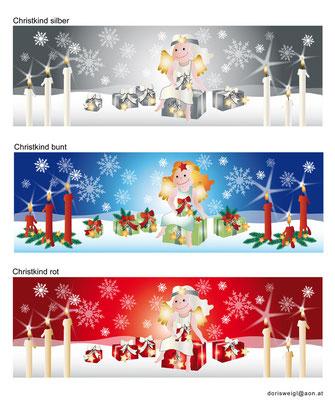 Farbvarianten Weihnachten mit Engel - Vektorgrafik - Illustrationen Doris Maria Weigl / Festtage