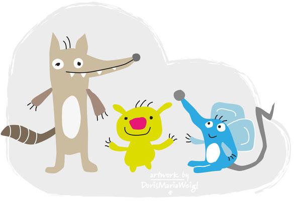 freche Tierchen - Vektorgrafik - Illustrationen Doris Maria Weigl / Kinderbuch