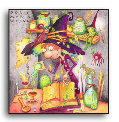 in der Hexenküche - Aquarell - Illustrationen Doris Maria Weigl / Kinderbuch