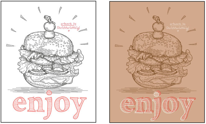 Burger - Vektorgrafik - Illustrationen Doris Maria Weigl / Menü