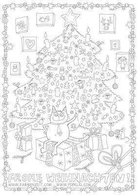 Weihnachten Ausmalbild - Vektorgrafik - Illustrationen Doris Maria Weigl / Festtage