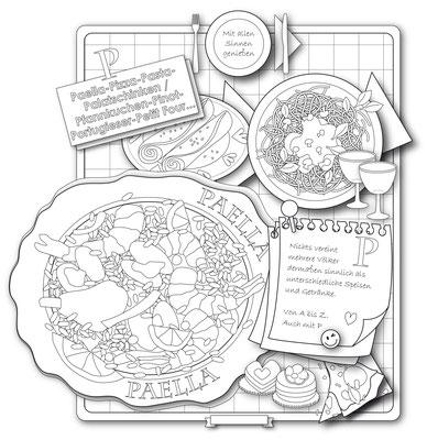 Paella - Vektorgrafik - Illustrationen Doris Maria Weigl / Menü