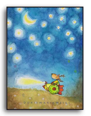 Leonhard fährt - Aquarell - Illustrationen Doris Maria Weigl / Kinderbuch