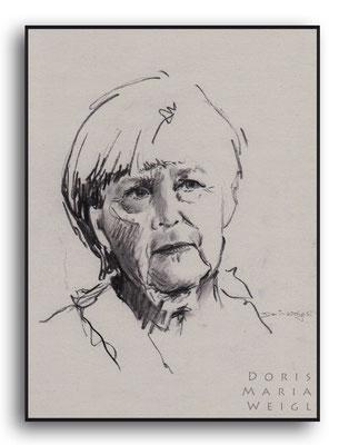 Angelika Merkel - Kohle - Illustrationen Doris Maria Weigl / Portrait