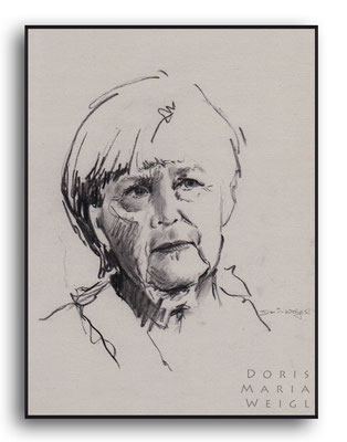 Angelika Merkel - Kohle - Illustrationen Doris Maria Weigl / Portrait
