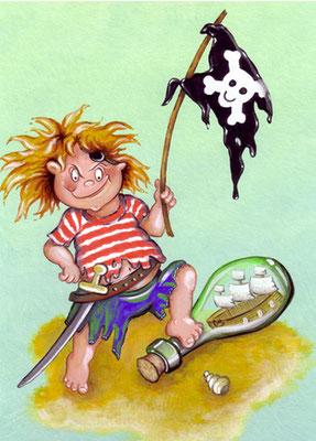 Pirat - Aquarell - Illustrationen Doris Maria Weigl / Kinderbuch