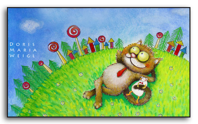 Kater im Gras - Vektorgrafik - Illustrationen Doris Maria Weigl / Tiere
