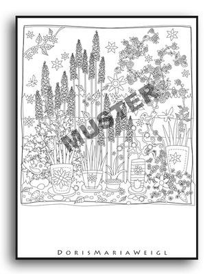 Garten - Malbuch Farbenzeit - Vektorgrafik - Illustrationen Doris Maria Weigl / Malbuch
