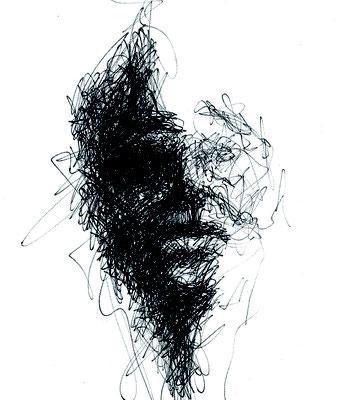 schwarzes Portrait 2 - schwarzer Kugelschreiber - Illustrationen Doris Maria Weigl / Portrait