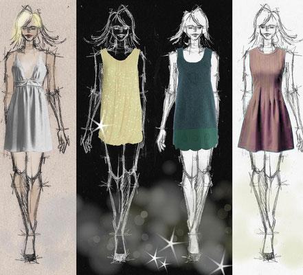 Sommerkleider - Foto mit Vektorgrafik - Illustrationen Doris Maria Weigl / Mixed Media