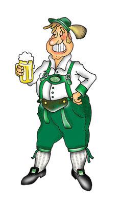 Mann mit Bier - Vektorgrafik- Illustrationen Doris Maria Weigl / Comic