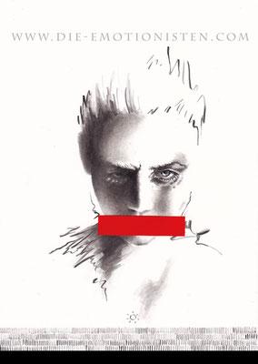 """SPIEGELBILDER 002 - """"...meinen Mund gehalten"""" - Acryl und rotes Papier auf Karton - 20x30cm - Doris Maria Weigl"""