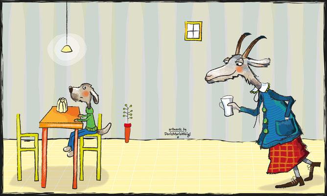Ziege und Hund - Vektorgrafik - Illustrationen Doris Maria Weigl / Kinderbuch