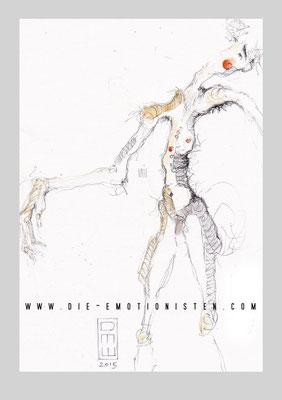 """""""wohin"""" - Serie Mute - Graphit, Gold und Aquarell auf Zeichenpapier, 20x30cm - Doris Maria Weigl"""