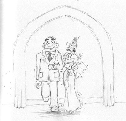 in der Kirche - Skizze - Illustrationen Doris Maria Weigl / Comic