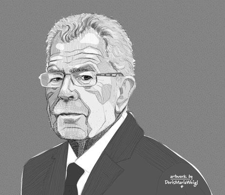 Alexander Van der Bellen - österreichischer Bundespräsident - Vektorgrafik - Illustrationen Doris Maria Weigl / Portrait