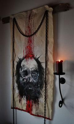 """""""Chains"""" - Acryl, rostige Eisenketten, indische Tinte und Blut auf rohem Leinen - 100x150cm - Doris Maria Weigl"""
