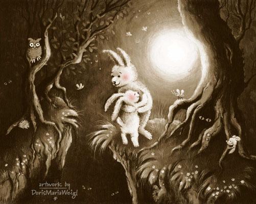 Zwei Hasen im Vollmond - Aquarell und Acryl auf leinen - Illustrationen Doris Maria Weigl / Kinderbuch