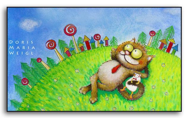 Katze Emil träumt - Aquarell - Illustrationen Doris Maria Weigl / Kinderbuch