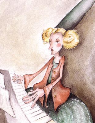 Die Klavierspielerin - Aquarell - Illustrationen Doris Maria Weigl / Kinderbuch