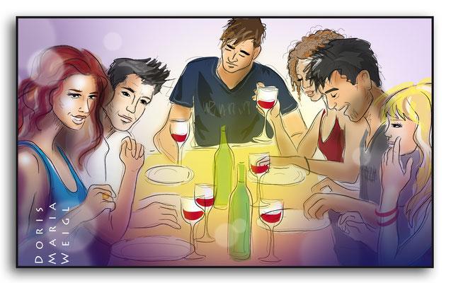 Dinner - Vektorgrafik- Illustrationen Doris Maria Weigl / Festtage