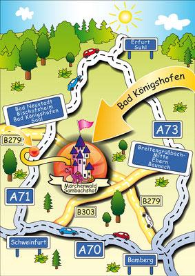 Zufahrtsplan - Vektorgrafik - Illustrationen Doris Maria Weigl / Landschaft