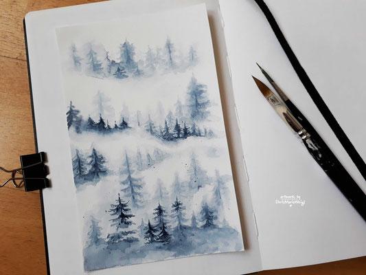 "Sketchbook - Illustration - Doris Maria Weigl - ""Nebel"""