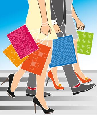 Shoppen - Vektorgrafik - Illustrationen Doris Maria Weigl / Menschen