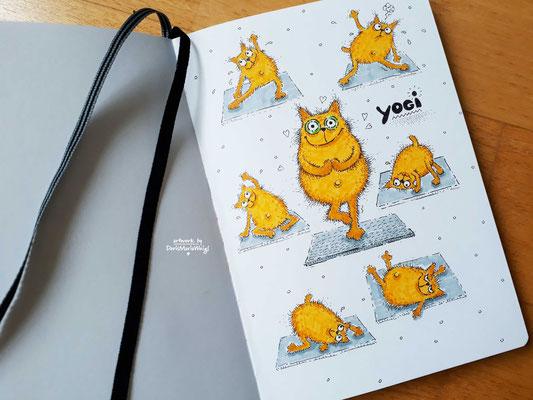 Yogi Katze - Faserstift - Illustrationen Doris Maria Weigl / Sport