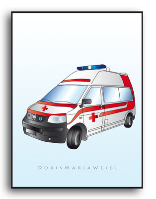 Rettungswagen - Vektorgrafik - Illustrationen Doris Maria Weigl / Medizin