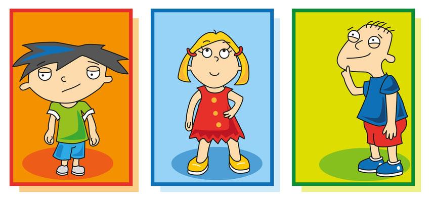 die Drei - Vektorgrafik - Illustrationen Doris Maria Weigl / Kinderbuch