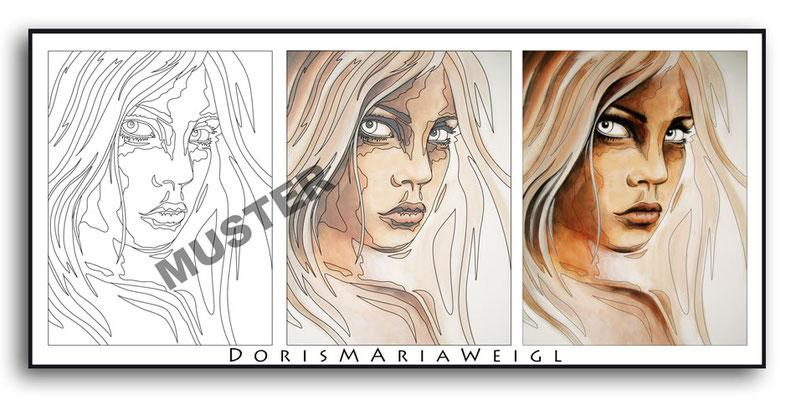 Malbild Kunst Frau - Vektorgrafik - Illustrationen Doris Maria Weigl / Malbuch