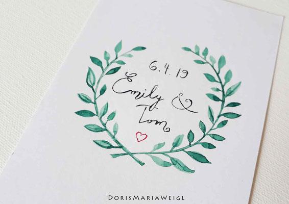 Sitzplatzkarte 2 - Illustrationen Doris Maria Weigl / Festtage / Hochzeit