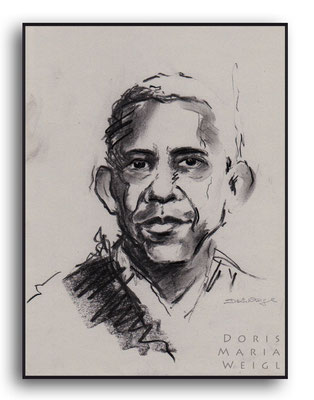 Barack Obama - Kohle - Illustrationen Doris Maria Weigl / Portrait