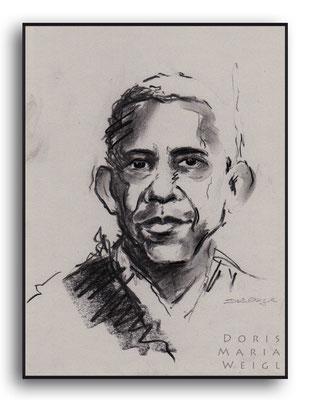 Barack Obama - Kohle - Illustrationen Doris Maria Weigl / Portrait