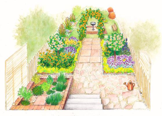 Gartenszene 4 Burda - Aquarell - Illustrationen Doris Maria Weigl / Landschaft