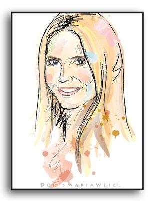 Heidi Klum - Vektorgrafik - Illustrationen Doris Maria Weigl / Portrait