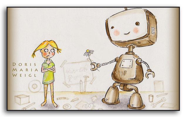 Mädchen mit Roboter - Aquarell - Illustrationen Doris Maria Weigl / Kinderbuch