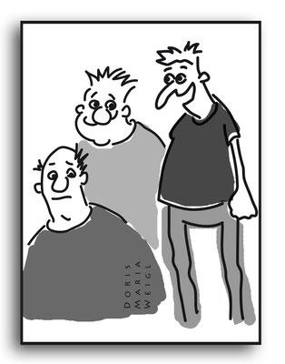 Einheimische - Vektorgrafik- Illustrationen Doris Maria Weigl / Comic