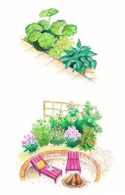 Gartenszene 6 Burda - Aquarell - Illustrationen Doris Maria Weigl / Landschaft