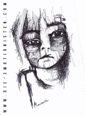 Verzerrt - schwarzer Kugelschreiber - Illustrationen Doris Maria Weigl / Portrait